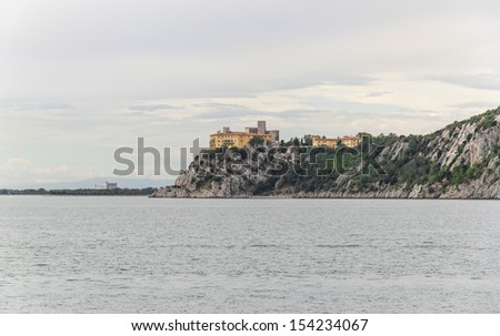 Sea view from the Castle of Duino, Trieste  Italy - stock photo