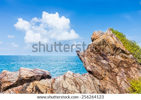 sea view from top of a mountain in an island of thailand - stock photo