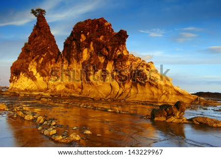 Sea view on the sunset in Indonesia Sawarna beach, panoramic picture - stock photo