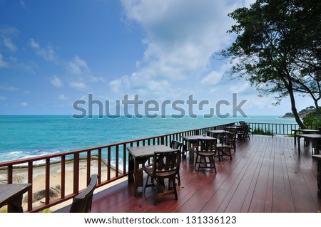 Sea View Restaurant On samui Island, Thailand - stock photo