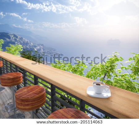 Sea Views and seats vacation concept background - stock photo