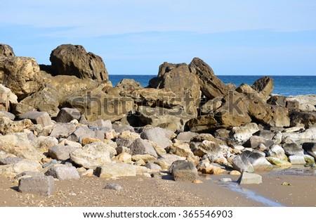 Sea Wall Defence in Gerani, Crete, Greece - stock photo