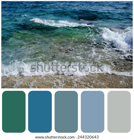 Sea wave and sandy beach background colour palette with color swatch - stock photo