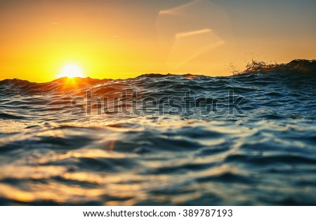 Sea wave close up, low angle view, sunrsie shot - stock photo
