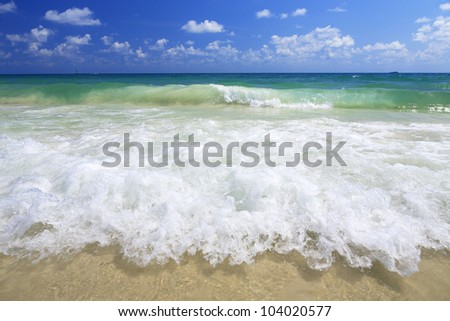 sea wave on the beach - stock photo