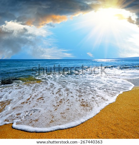 Sea wave runs on the Tropical beach against the dramatic sky - stock photo