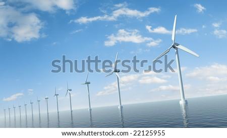 Sea wind farm - stock photo