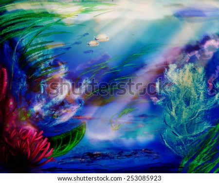 Seabed with fish, corals and algae, digital sketch - stock photo