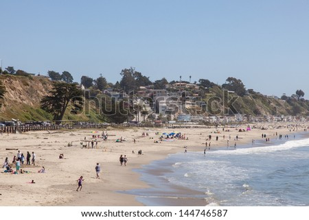 Seacliff is a California State Beach located off Highway 1 in the town of Aptos about 5 miles (8 km) south of Santa Cruz - stock photo