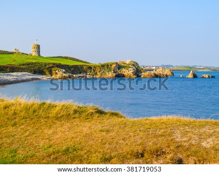 Seacoast and view of the gulf. Landscape on the Guernsey, Channel Islands - stock photo
