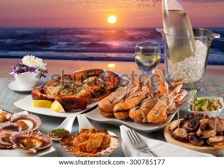seafood dinner at restaurant to the sea - stock photo