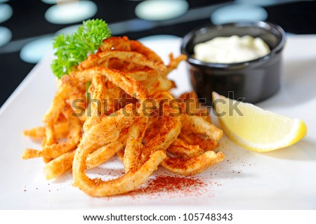 Seafood - fried Squid - stock photo