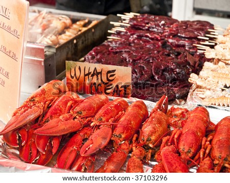 Seafood on sale in the Bergen fishmarket - stock photo