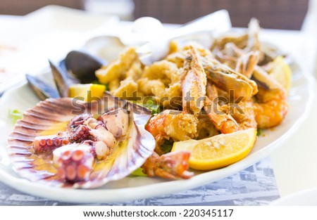 seafood plate  - stock photo