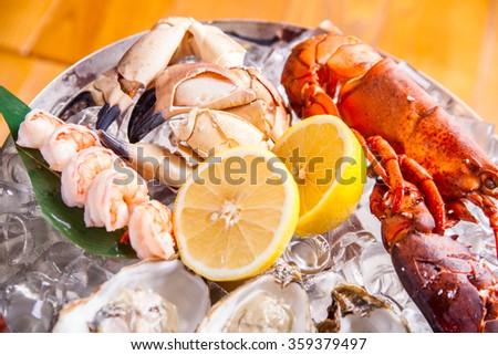 Seafood platter - stock photo
