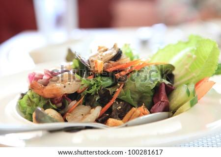 Seafood salad with Japanese sauce - stock photo