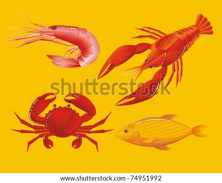 Seafood: shrimp, crayfish, crab and fish - stock photo