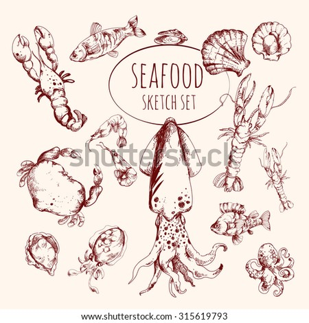 Seafood sketch set with lobster salmon shrimp tuna fish isolated  illustration - stock photo