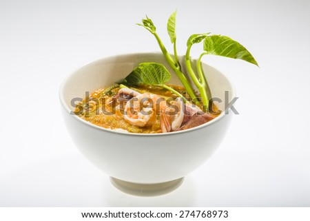 Seafood Sukiyaki isolated on white background - stock photo