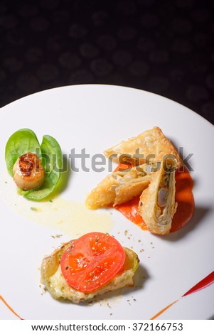 Seafood wrap stuffed with lobster and Scallops / fine dining - stock photo
