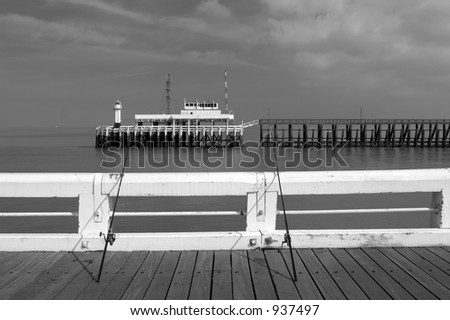 Seafront at Ostend in Belgium (Black & White) - stock photo