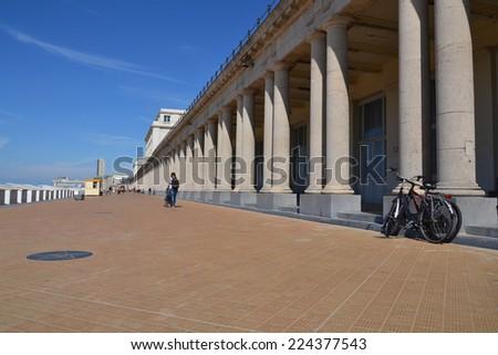 Seafront promenade in Oostende, Belgium  - stock photo