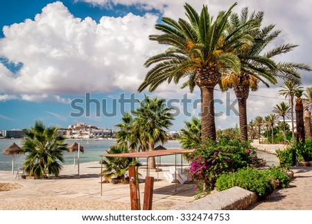 Seafront promenade of Ibiza. Balearic Islands. Spain - stock photo