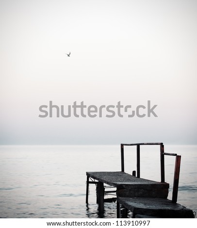 Seagull and pier at the sea - stock photo