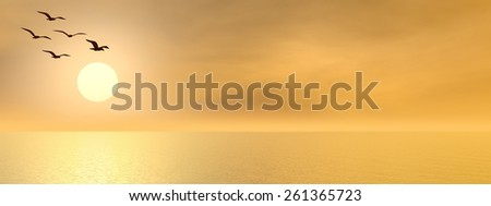 Seagulls flying upon the ocean by sunset- 3D render - stock photo