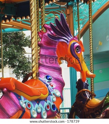 Seahorse on carousel - stock photo