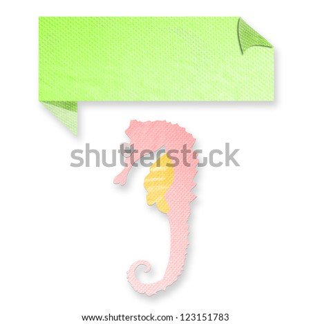 seahorse with text box made from tissue paper-craft - stock photo