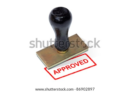 "Seal ""approved"" red word  on a white background. - stock photo"