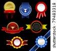 Seal Ribbon Rosette Badge Vintage Trophy Medal Winner Tag Emblem Label Banner Warranty Guarantee Gold Award - stock photo