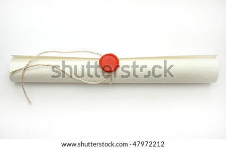 Sealed scroll document - stock photo