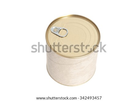Sealed tin can isolated on white background - stock photo