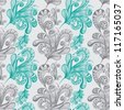 Seamless abstract floral background, hand drawn illustration for design - stock photo