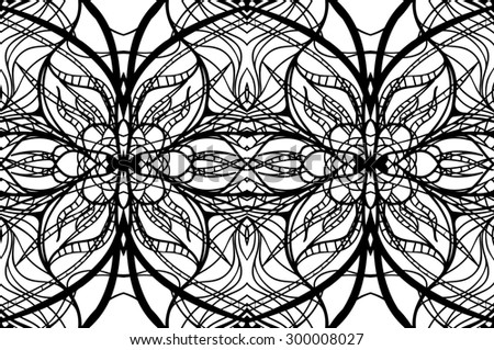 Seamless abstract floral Doodle background, black and white, raster copy of illustration - stock photo