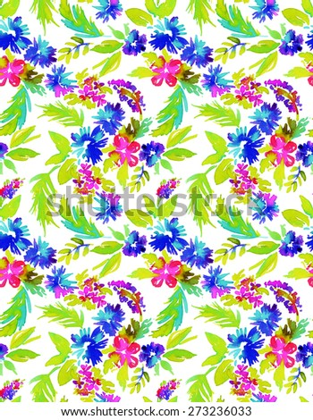 seamless abstract floral pattern. free from flowers in vibrant colors in allover composition on white background. summer look, vibrant and lively garden flowers and leaves.  - stock photo