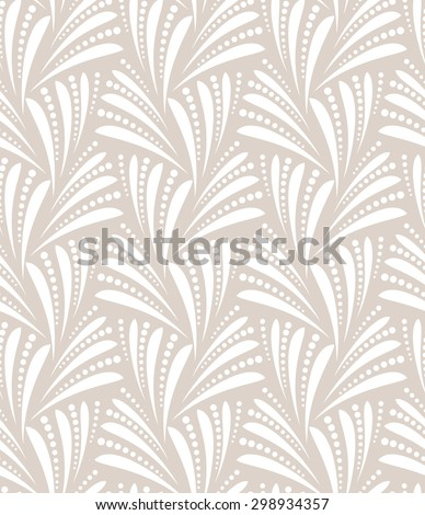 Seamless abstract floral pattern. Gray and white background. Geometric leaf ornament. - stock photo