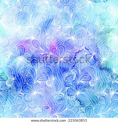 Seamless abstract hand drawn pattern in blue colors. Raster version. Vector is also available in my gallery - stock photo