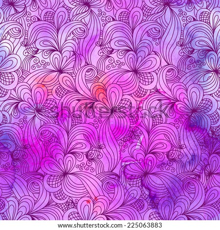 Seamless abstract hand drawn pattern in pink colors. Raster version. Vector is also available in my gallery - stock photo