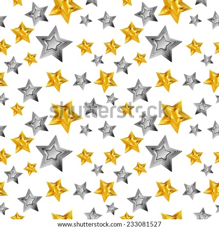seamless abstract pattern golden star silver star isolated on white background raster - stock photo