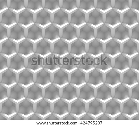 seamless abstract pattern made of white cube shapes (3d illustration) - stock photo
