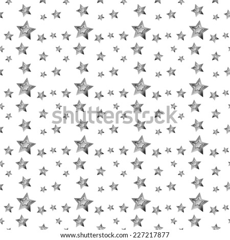 seamless abstract pattern silver star isolated on white background raster - stock photo