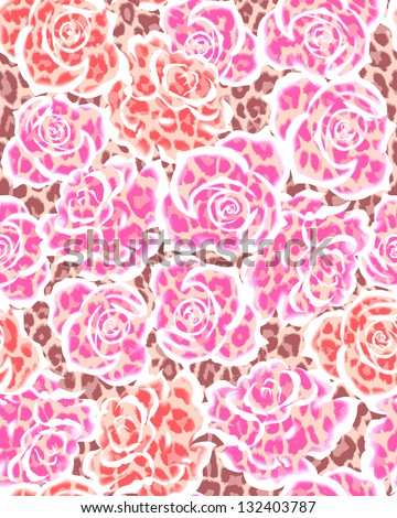 seamless animal roses - stock photo
