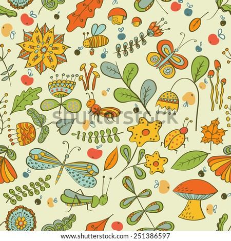 Seamless autumn pattern with flowers, mushrooms, leaves, and insects.  - stock photo