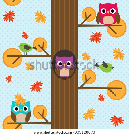 Seamless autumn pattern with tree and owl sitting on branches. Raster version - stock photo