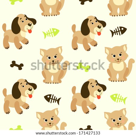 Seamless baby background with cats and dogs - stock photo