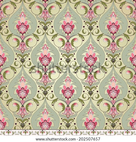 Seamless background and border. Vintage oriental pattern. - stock photo