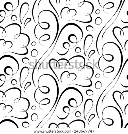 seamless background. Backdrop. black floral pattern on a white - stock photo